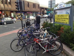 This image shows a full bike rack on Gosforth High Street to indicate the increasing demand for cycling.