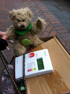 The air pollution monitory (and teddy bear) on Gosforth High Street