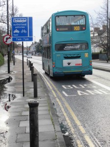 Bus lane on the Great North Road