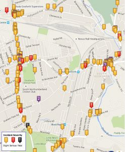 Map showing locations of collisions in East Gosforth ward