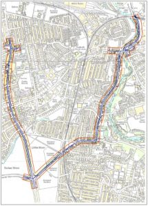 Map of the South Gosforth Air Quality Management Area, which includes Gosforth High Street (between Salters' Road junction and the Little Moor), Jesmond Dene Road, Matthew Bank and Haddricks Mill Roundabout