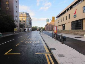 This image shows the new cycle route on John Dobson Street, Newcastle upon Tyne