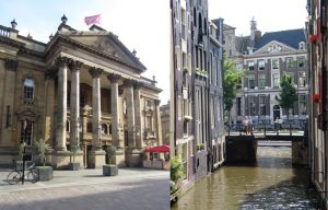 The left half of the image is Newcastle's Theatre Royal and the right half shows an Amsterdam building also in a classical style