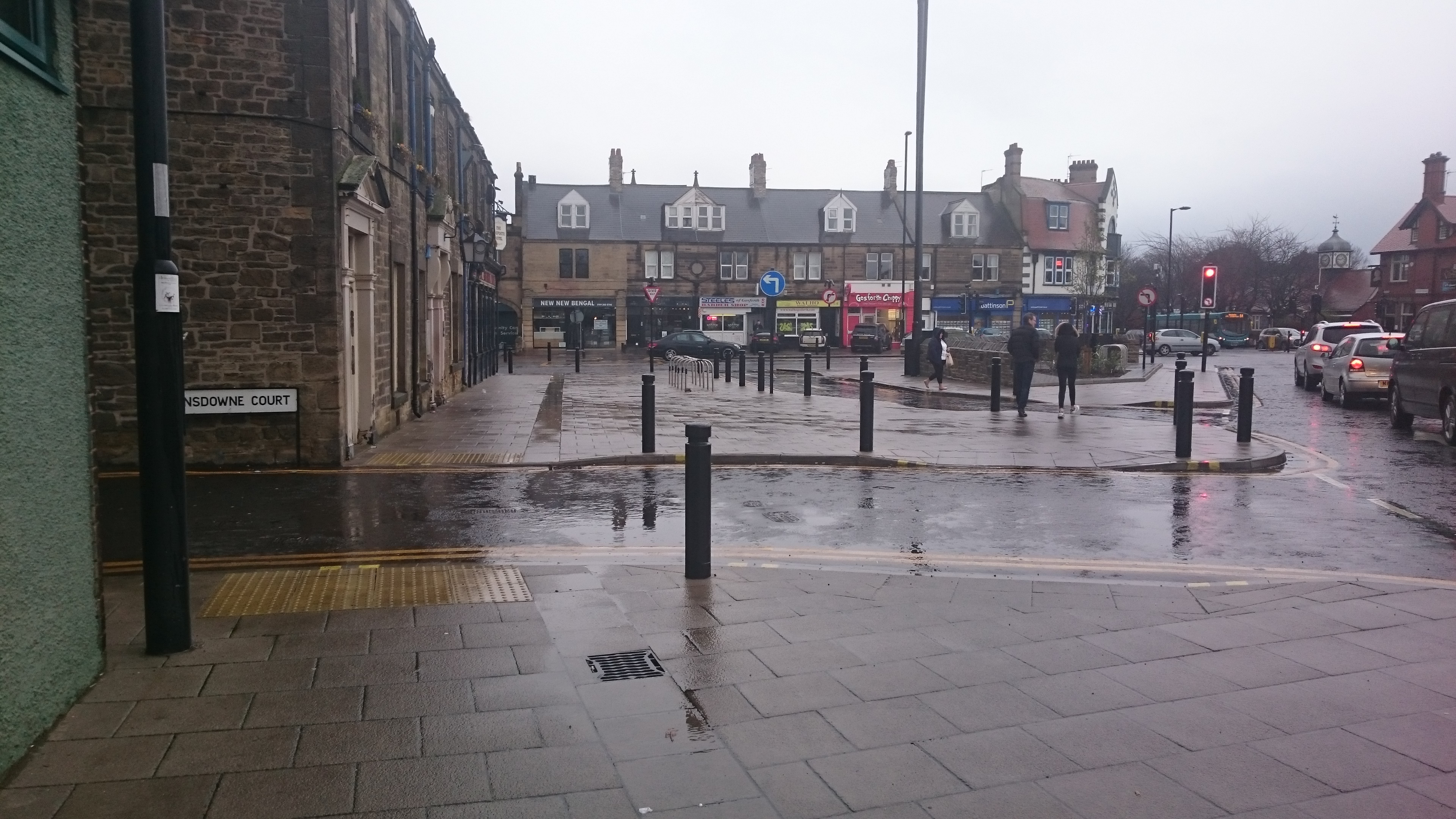 image of area outside of the gosforth hotel looking down salters road showing the tactile paving before the gosforth hotel