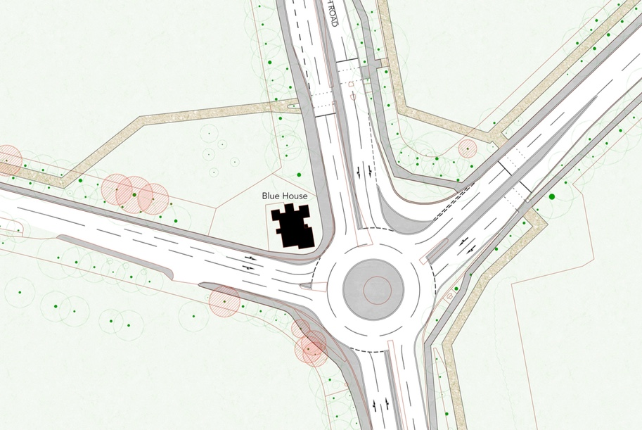 Planning drawing showing roundabout with two vehicle lanes going around it. The Blue House is retained in this version.