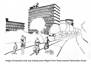 Drawing by a SPACE member of a cycle lane at the Regent Centre.
