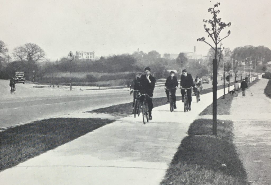 This image shows a British 1930s cycle track location unknown courtesy of Carlton Reid