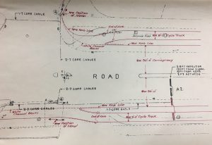 This is an engineers plan of Great West Road 1936 showing separated cycle tracks. Image courtesy of Carlton Reid