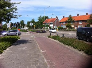 Almere Consulting is named after a town in the Netherlands - photo shows a Dutch bike lane separated from the road by bollards and a plant border
