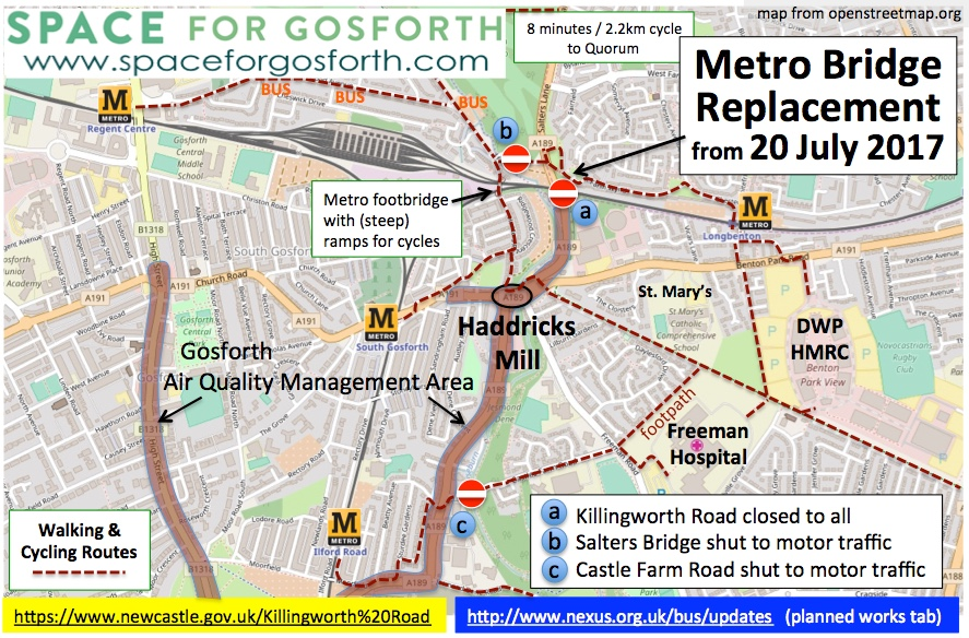 Map of Gosforth area showing road closures at Killingworth Road, Salters Bridge and Castle Farm Road. Also showing the Gosforth Air Quality Management Area.