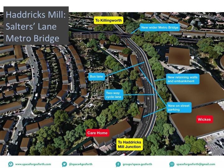 The Council diagram of proposed changes to Killingworth Road from the July 2016 consultation.