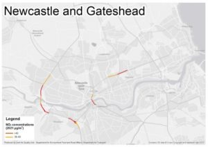 Map showing the Tyne Bridge, the A1 and the Coast Road, where Defra have ordered a reduction in emissions