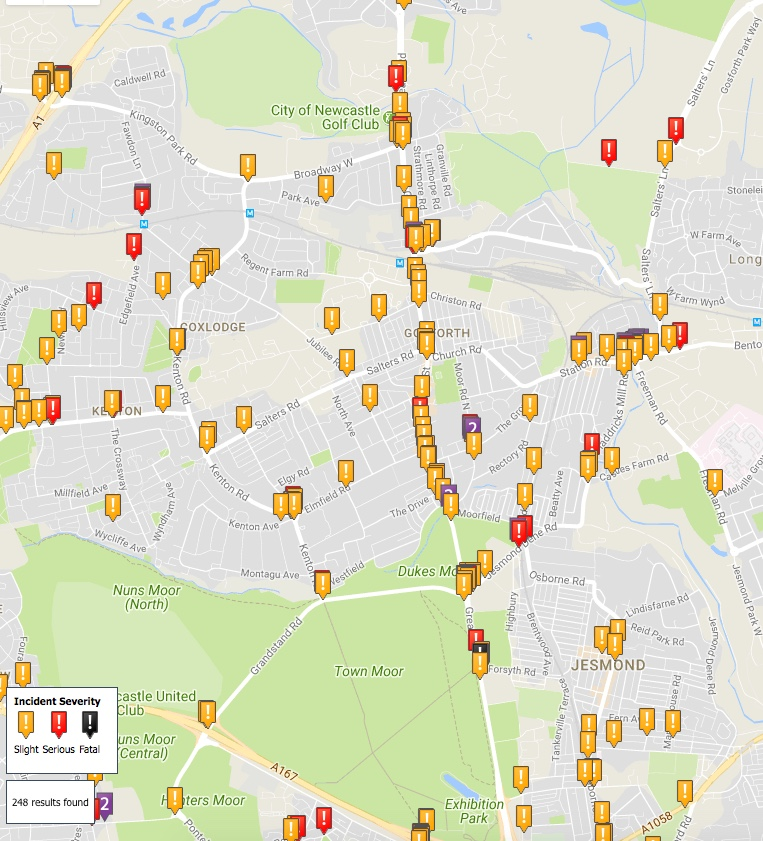 Map showing injuries to people cycling on Gosforth's roads. Most significant locations for injuries are on the Great North Road and Gosforth High Street, Blue House and Haddricks Mill.