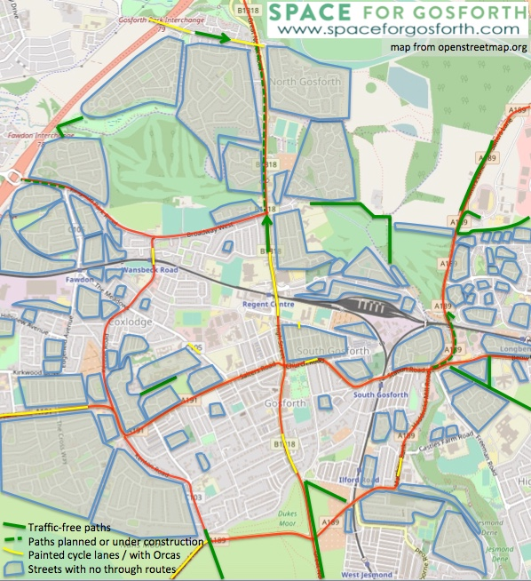 Map showing which roads and areas are safe for cycling including routes with traffic free paths and local neighbourhoods with no through traffic.