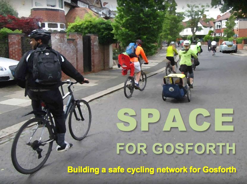 "Moor Crescent, Gosforth with a group of people cycling including a child seat and child trailer. With title ""SPACE for Gosforth, Building a safe cycling network for Gosforth"""