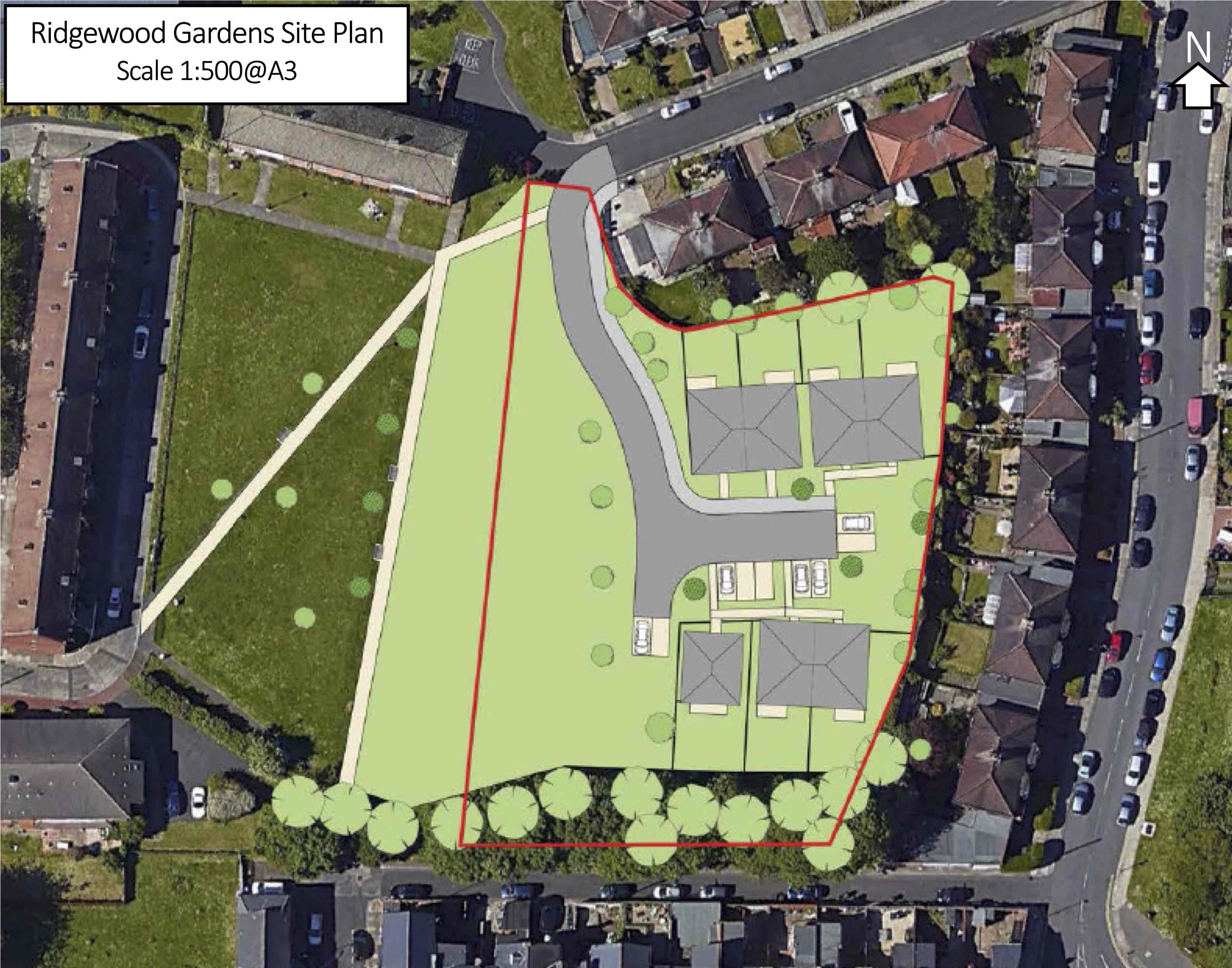 Planning Application Diagram Showing The Location Of Seven New Houses On South Gosforth Green