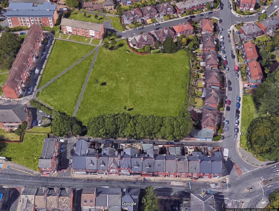 Google Satellite imagery showing South Gosforth Green