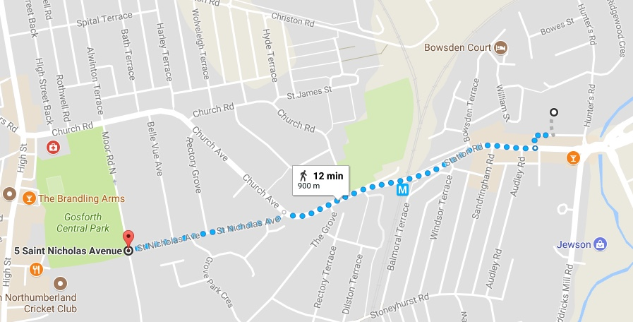 Google Maps Walking Directions From South Gosforth Green To Central Park According The Application 720m Is Maximum Distance Anyone Should