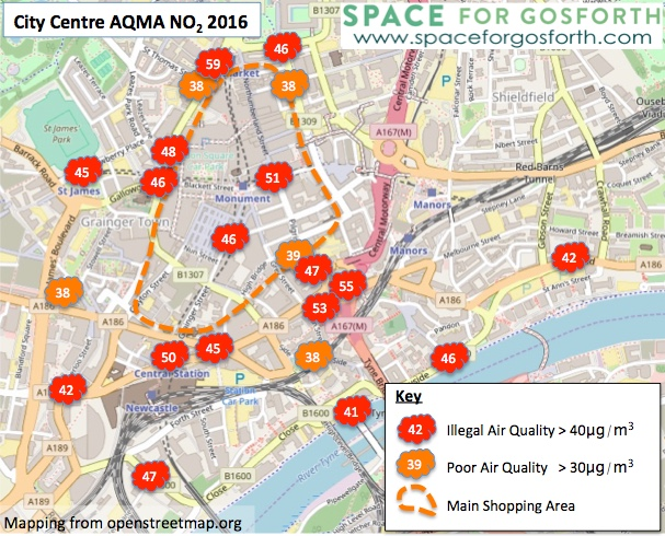 Map of Newcastle City Centre showing illegal air quality in almost all locations