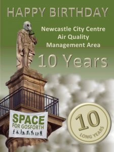 Image of the statue of Earl Grey on Newcastle's Monument wearing a gas mask