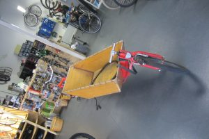 Cargo bike inside the workshop in the Journey