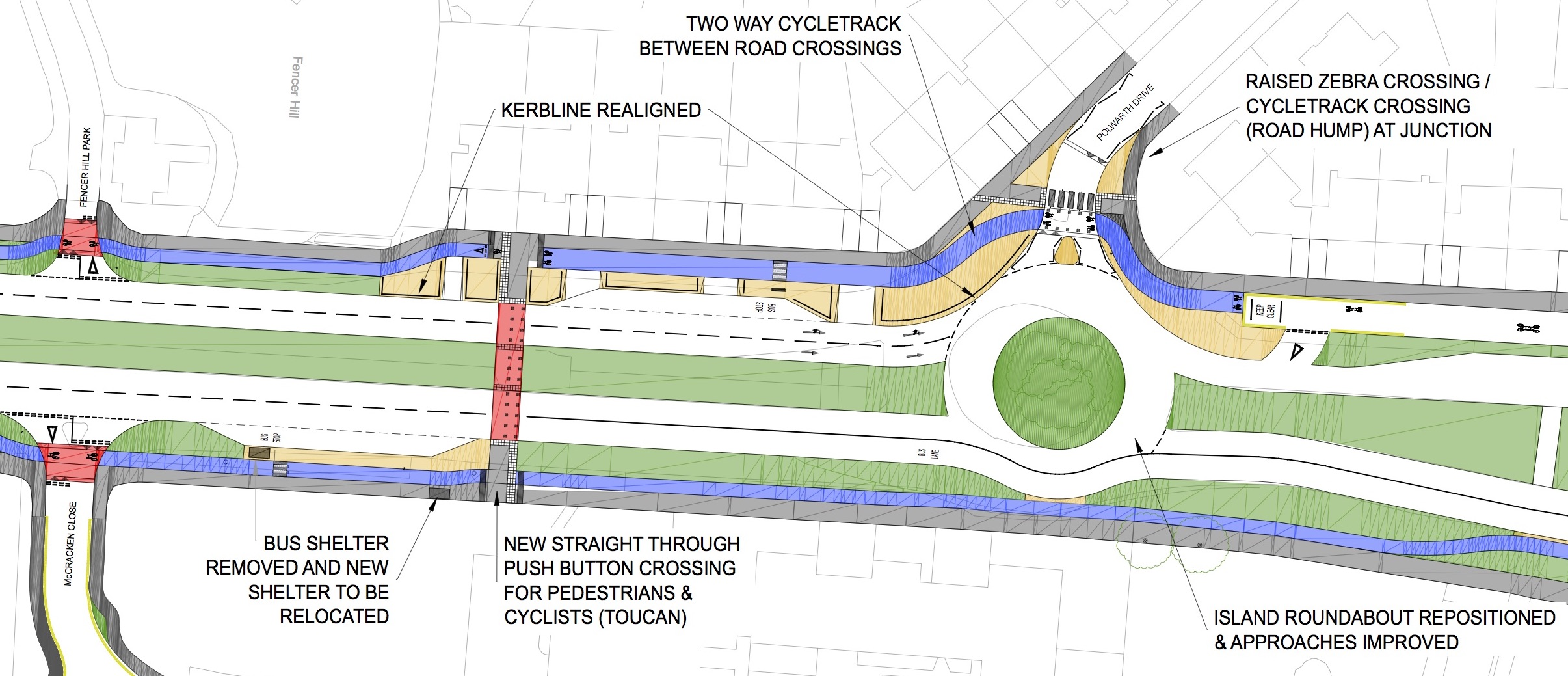 Plan of the cycle lane - described in the article text