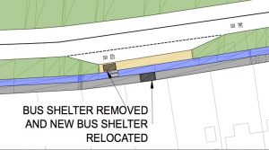 Exert from the original plans showing the existing bus shelters were to be removed.