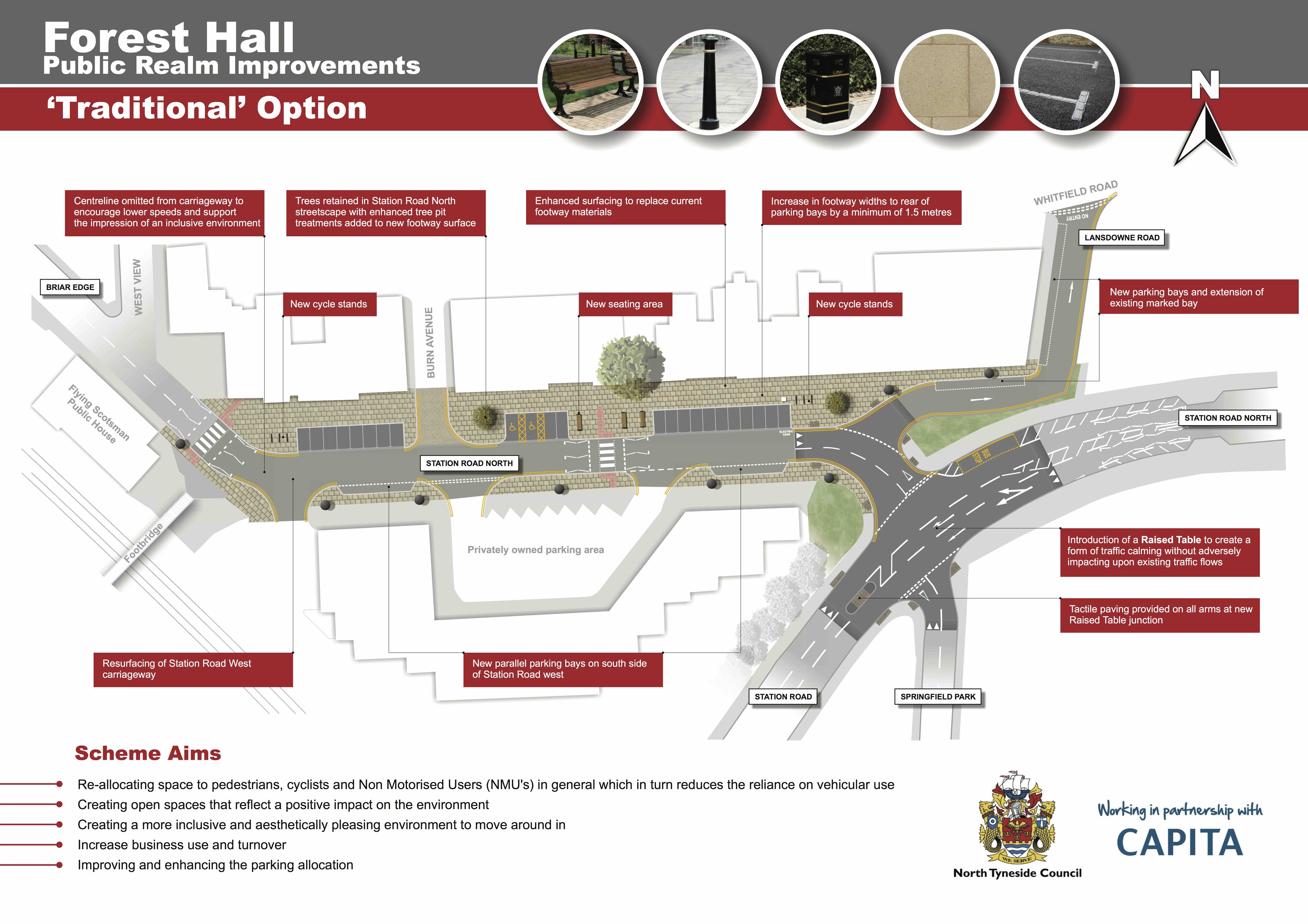 North Tyneside Council diagram of potential improvements in a Traditional Style.