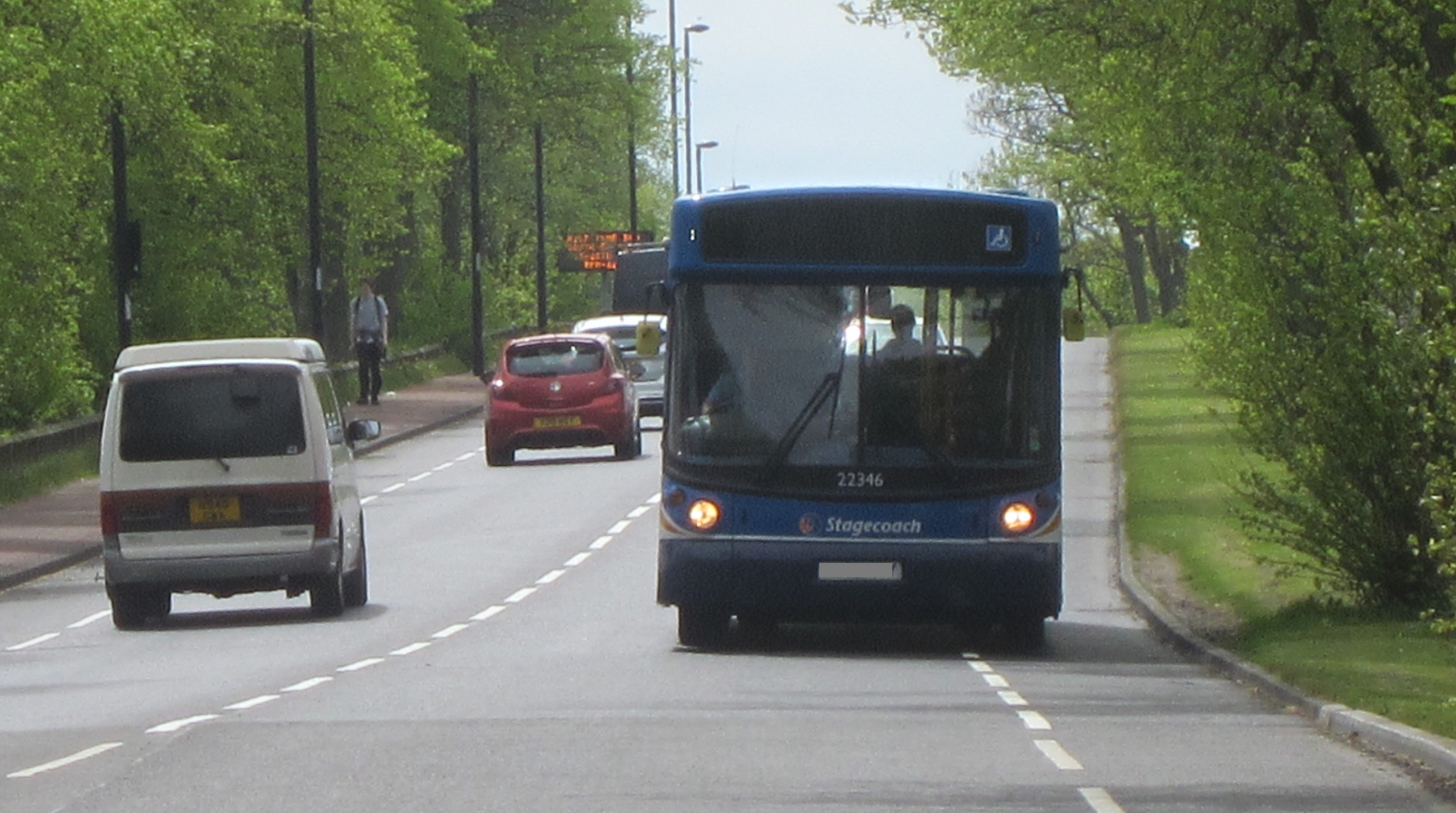 Bus driving in the cycle lane on Grandstand Road
