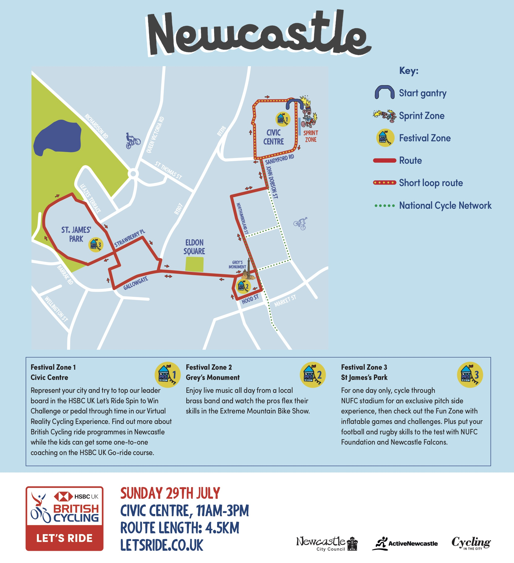 Map of the Let's ride Newcastle circuit around the centre of Newcastle.