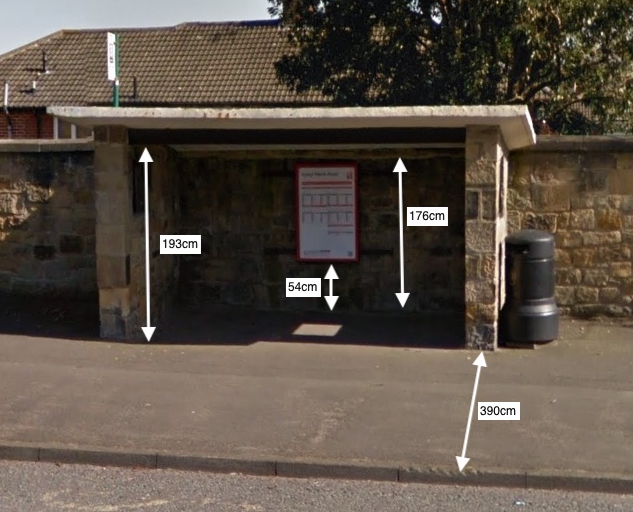 Bus shelter with measurements including 390cm pavement width to the current kerb