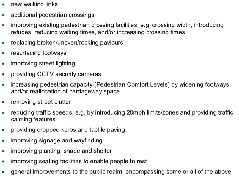 List of potential improvements for walking from the LCWIP technical guidance
