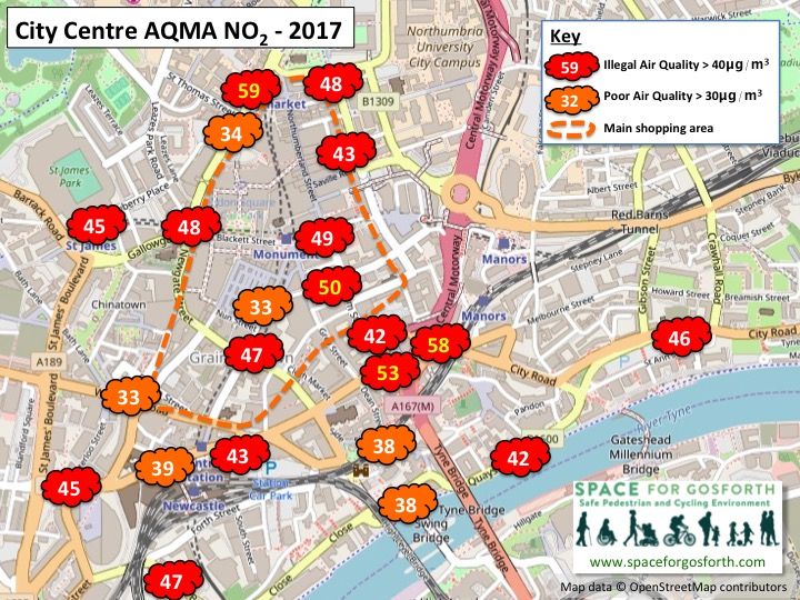 Map of Newcastle city centre showing locations with illegal air pollution in 2017