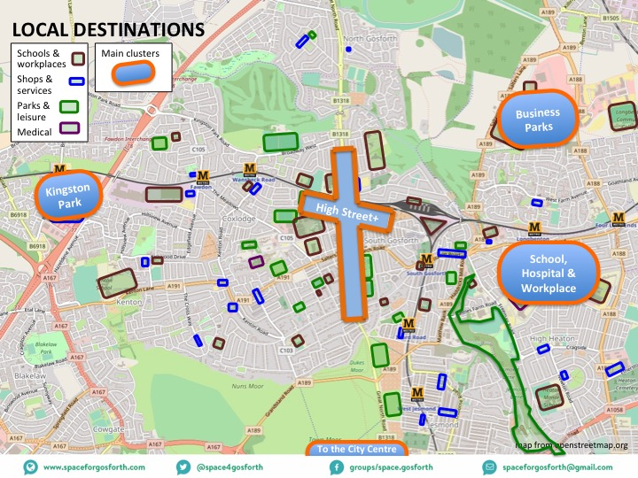 Map of local destinations in and around Gosforth