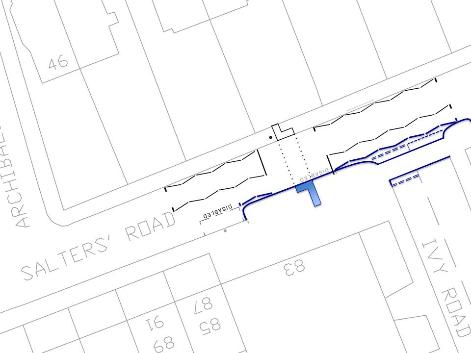 Plan showing build out of pavement at the crossing point on Salters road and a continuous pavement across Ivy Road.