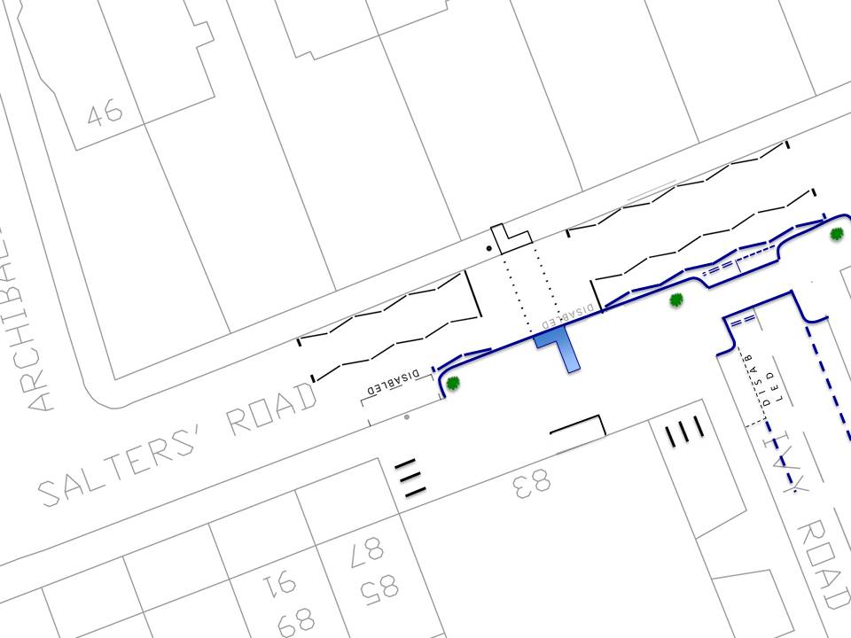 Plan showing build out of pavement at the crossing point on Salters road and a continuous pavement across Ivy Road. With the addition of some planters for greenery close to the road.