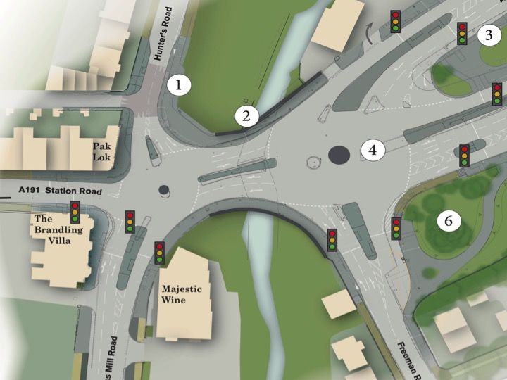 Plan of the junction showing changes to the centre circles and traffic islands.