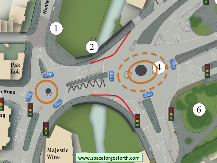 Plan showing tightened corners to slow fast-moving traffic.