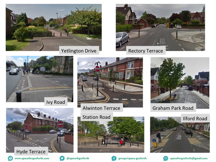 Pictures from around Gosforth showing different ways to make streets safer.