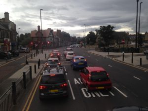 Cars Queuing at Salters Road junction