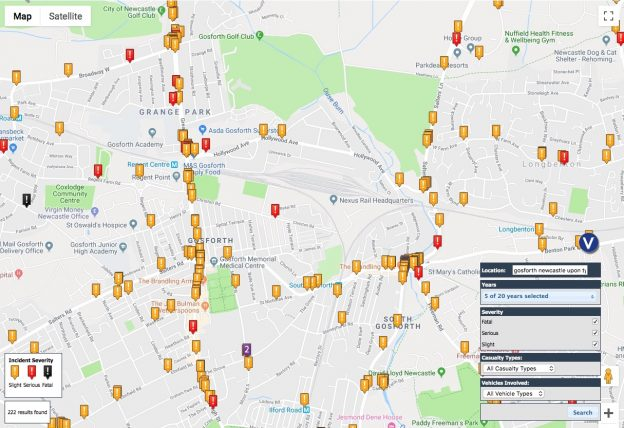 Map of collisions with injuries covering Gosforth, showing high numbers of collisions on the Great North Road.