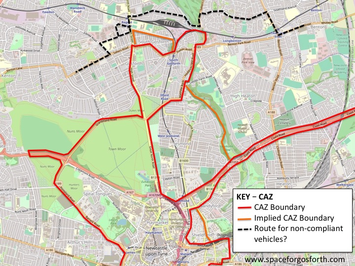 Map showing the Council's proposed CAZ and the most likely route for non-compliant vehicles
