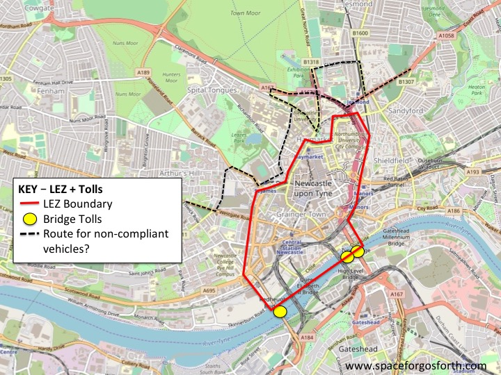 Map showing the Council's proposed LEZ and the most likely route for non-compliant vehicles
