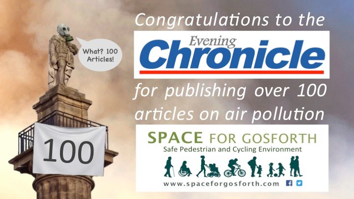 Image of Greys Monument with text 'Congratulations to the Evening Chronicle for publishing over 100 articles on air pollution""