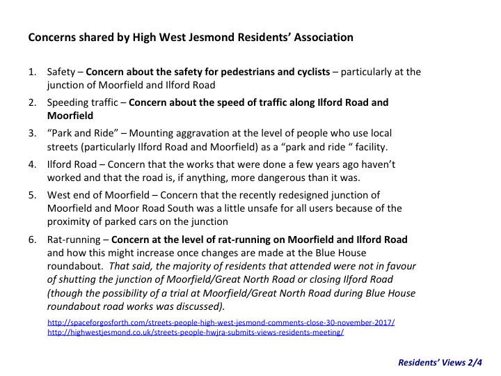 A list of concerns from the High West Jesmond Residents including safety, speeding traffic and rat-running.
