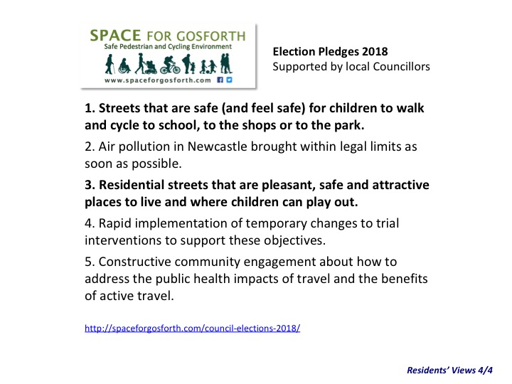 SPACE for Gosforth 2018 election pledges