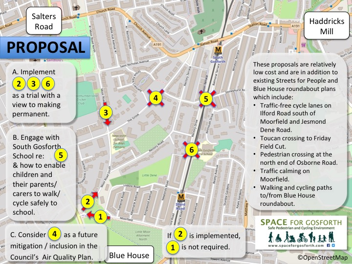 A proposal for a low traffic neighbourhood east of Gosforth High Street.