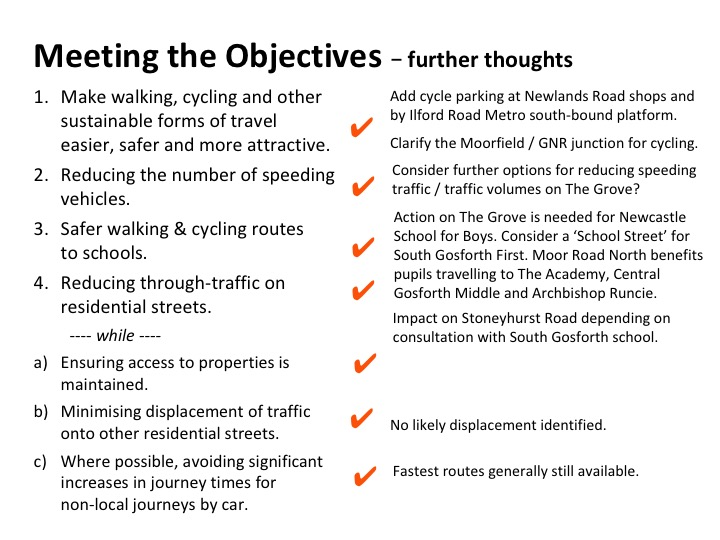 List showing that objectives have been met.