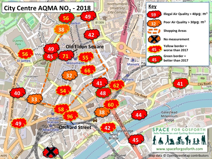 Map of the City Centre Air Quality management area showing 2018 pollution measurements