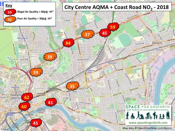 Map of the Central Motorway and Coast Road showing 2018 pollution measurements.